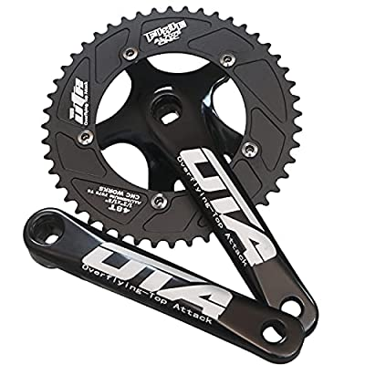 GANOPPER 48T Single Speed Road Bike Crank Set 130mm BCD PCD 5 Arm Track Fixed Gear Bicycle Crank Kit Set Bike Parts (Black)
