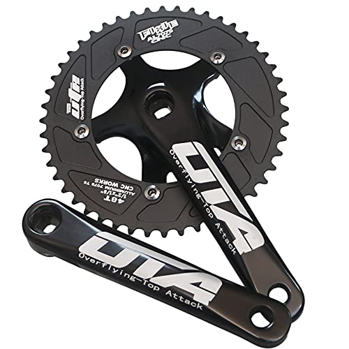 GANOPPER Single Speed Crankset 48T Fixed Gear Bike Crank Arm Set 130 BCD 170mm Fixie Bike Parts (Black)
