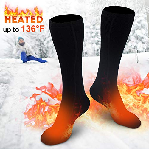 XBUTY Heated Socks for Women Men, Rechargeable Electric Socks Battery Heated Socks, Cold Weather Thermal Socks Sports Outdoor Camping Hiking Warm Winter Socks