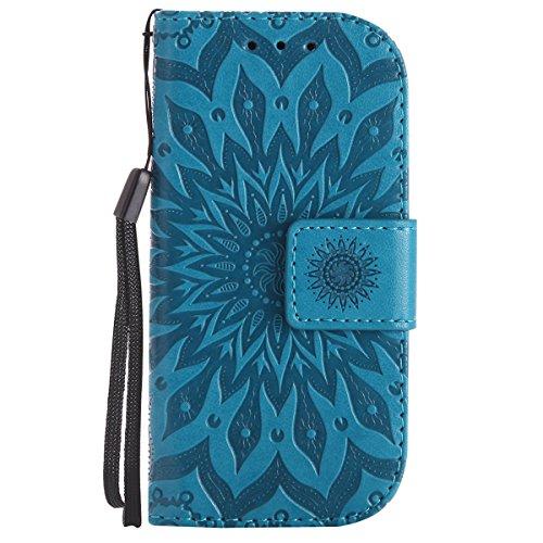 Ysimee Coque Nokia 3310 2017, Étui Portefeuille Magnétique en Cuir Fleur en Relief Folio Housse Con Antichoc TPU Bumper Poche de Cartes Fonction Support Coque à Rabat pour Nokia 3310 2017,Bleu