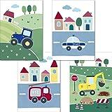 LALELU-Prints | 4er Set Bilder Kinderzimmer | Süße Fahrzeuge | genau das Richtige für kleine Jungs | perfekt fürs Babyzimmer (DIN A4 ohne Rahmen)