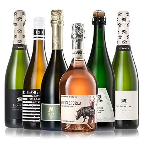 GEILE WEINE Weinpaket PRICKELNDES (6 x 0,75l) Probierpaket mit Sekt, Crémant, Schaum- und Perlweinen von Winzern aus Deutschland, Frankreich und Italien
