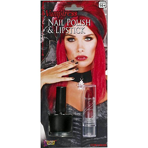 Forum Novelties Vampiress Black Nail Polish & Lipstick Costume Makeup Set