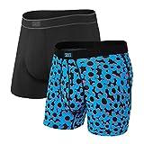 Saxx Underwear - Calzoncillos tipo bóxer para hombre con soporte integrado para ballpark – Pack de 2 unidades, De La Riso/Negro, Small