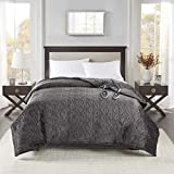 Beautyrest Plush Blanket Pinsonic Quilt Super Soft Electric Throw, Controller with 10 Hours Auto Shutoff and 20 Heat Level Setting, King, Grey