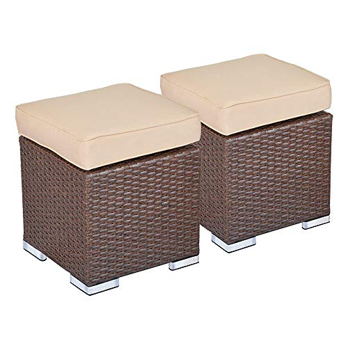 Green4ever Outdoor Patio Rattan Ottoman, 2 Pieces All Weather Wicker Furniture Ottoman Seat Stool Foot Rest with Beige Cushion, Brown Wicker, No Assembly Required