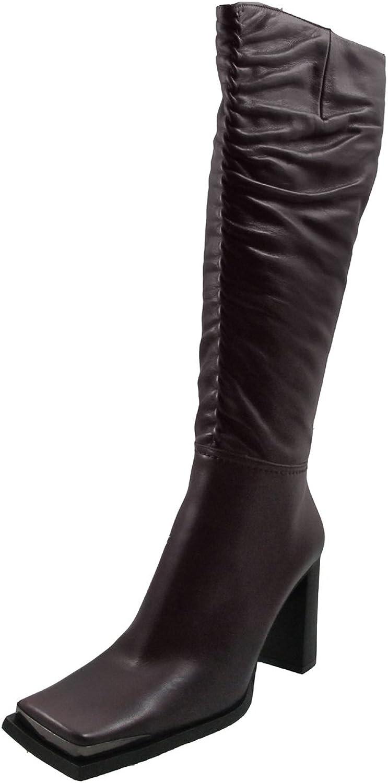 DA'VINCI 66228 Women's Italian Knee High Boot Leather Dress Casual Squre Toe
