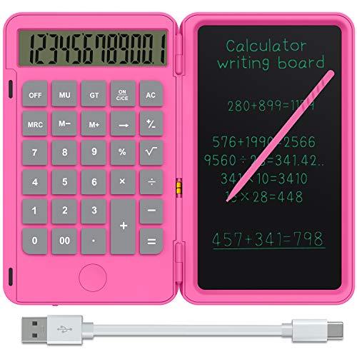 NEWYES 12-stelliger Taschenrechner (mit USB Aufladen) Klein Rechner mit 6,5 Zoll Schreibtafel für Rechnen& Notizen,Rosa