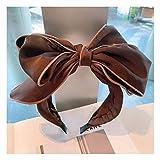 Turbantes para Mujer Diademas Diadema De Pajarita De Múltiples Capas Floral De Algodón Retro De Moda Y Simple para Mujer con Estampado De Horquilla-43-Coffee_Color