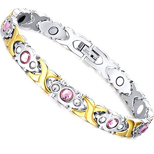 Magnetic Healing Bracelet Rhinestone Crystal Bangle Arthritis Pain Relief Weight Loss Women Men Gold and Silver (Gold and Sliver)