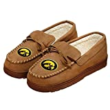 FOCO NCAA Iowa Hawkeyes Mens College Team Logo Moccasin Slippers ShoesCollege Team Logo Moccasin Slippers Shoes, Tan, Large (11-12)
