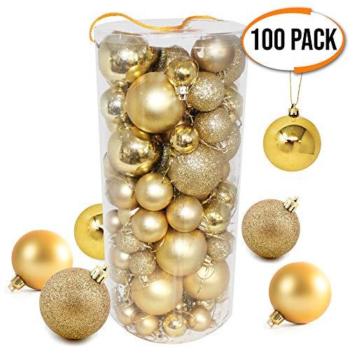 THE TWIDDLERS 100 Ornamentos Premium de Navidad Doradas - Bolas con Diferentes Acabados y Tamaños - Adornos para...