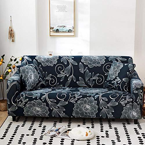 chuanglanja Sofa Cover Stretch l Shape Furniture Universal Sofa Cover,Four-Season Stretch Sofa Cover,Flower Print-Three-Seater 195-230cm