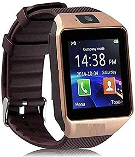 BabyTiger Bluetooth Smartwatch Compatible with All 4G Phones with Camera Sim Card Support Health and Fitness Tracker for Boys Girls Men Women DZ09Golden