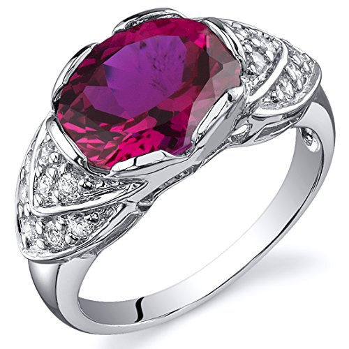 Peora Created Ruby Cocktail Ring Sterling Silver 3.50 Carats CZ Accent Size 7