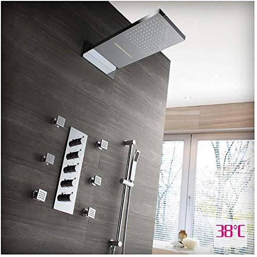 Juego de ducha empotrado, termostato de ducha empotrado, lluvia voladora, alcachofa de ducha, ducha lateral, cuatro funciones, montaje en pared, rectangular negro