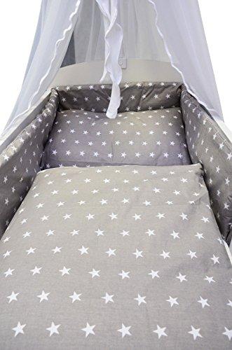 Best For Kids Komplettset Babybett 60x120 cm mit Bettwäsche inkl. Decke und Kissen - 6 Design (Sterne grau)