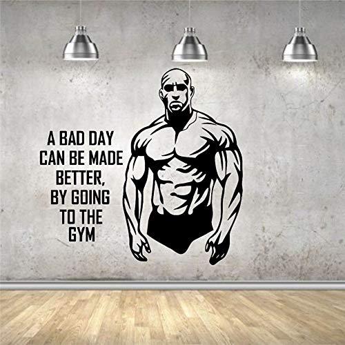 Hombre musculoso culturista Hércules gimnasio Fitness deportes citas inspiradoras vinilo pegatina de pared calcomanía dormitorio Club de culturismo decoración del hogar Mural