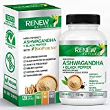 Renew Actives ORGANIC ASHWAGANDHA Capsules: 1300 Mg of Ashwagandha with 10 Mg of