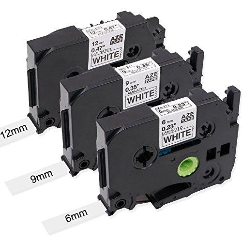 Oozmas kompatible Schriftband als Ersatz für Brother TZ Tape TZe-211 6mm TZe-221 9mm TZe-231 12mm, Schwarz auf Weiß Tape Cassette kompatible für Brother P-Touch 1000 H110 1830 2100, 3er-Pack
