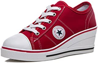 Femme Baskets Mode en Tennis Chaussures Toile Talon Compensé Chaussures de Sport Fermeture Lacets Taille 40 41 42