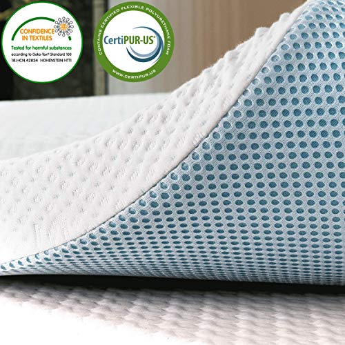 subrtex 3 Inch Mattress Topper Gel Infused Memory Foam Cooling Pad Removable with Fitted Bamboo Cover (90x190x7.5cm)