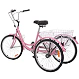 H&ZT Adult Tricycle 1-Speed Trike Cruiser Bike 3 Wheeled Bicycle w/Large Basket and Maintenance Tools, Men's Women's Cruiser Bicycles (Pink, 1 Speed, 20')