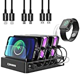 Fastest Charging Station with Quick Charge QC 3.0, COSOOS 63W 12A 6-Port USB Charging Station for Multiple Devices with 6 Mixed Short Cables & lWatch Stand,Multi Charger Station for Cell Phone,Tablet