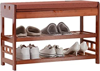 Soges Shoe Bench with Cushion Bamboo 2-Tier Shoe Rack Shoe Storage Bech Entryway Shoe Storage Organizer HSJ-HXD-BY-80