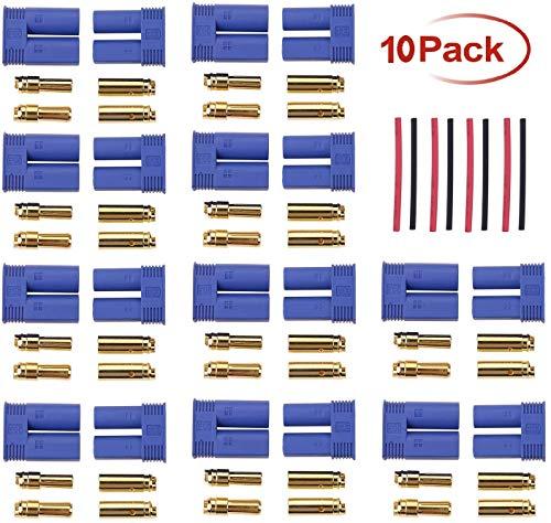 N/B EC5 Banana Stecker 5mm Goldstecker Stecker + Buchse Set mit 8 Stücke 10cm Schrumpfschlauch Für RC ESC LIPO Motor (10 Paar)