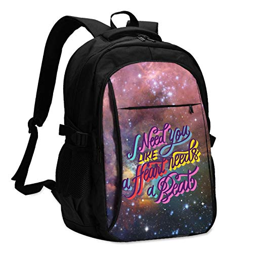 High Capacity Travel Laptop Water Resistant Anti-Theft Backpacks with USB Charging Port and Lock for Men Women College School Student Casual Hiking W/Print Romantic Lettering Three Pattern