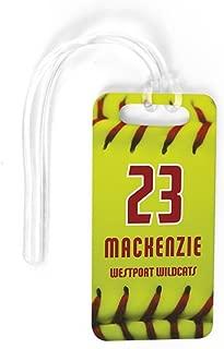 Softball Luggage & Bag Tag | Personalized Softball Stitches | No Personalization on Back | SMALL