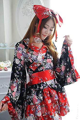Kurrma Disfraces Tradicionales Japoneses Kimono Princesa Lolita Vestido Uniforme De Anime Serie Sexy Beautiful Girl Cosplay Fiesta De Disfraces/Halloween Dress Up
