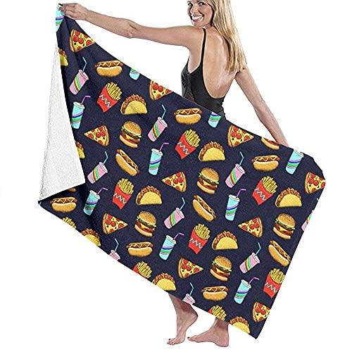 MENYUAN Pintado comida rápida en azul marino microfibra er absorbente ligero grande toalla de baño para natación, piscina, deportes