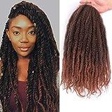 Marley Braiding Hair 3pcs Marley Kinky Crochet braids Marley Hair for Twists 18inch Afro Kinky Twist Crochet Hair Synthetic 2 Tone Mixed Colour Marley Hair Extensions(1B/30#)