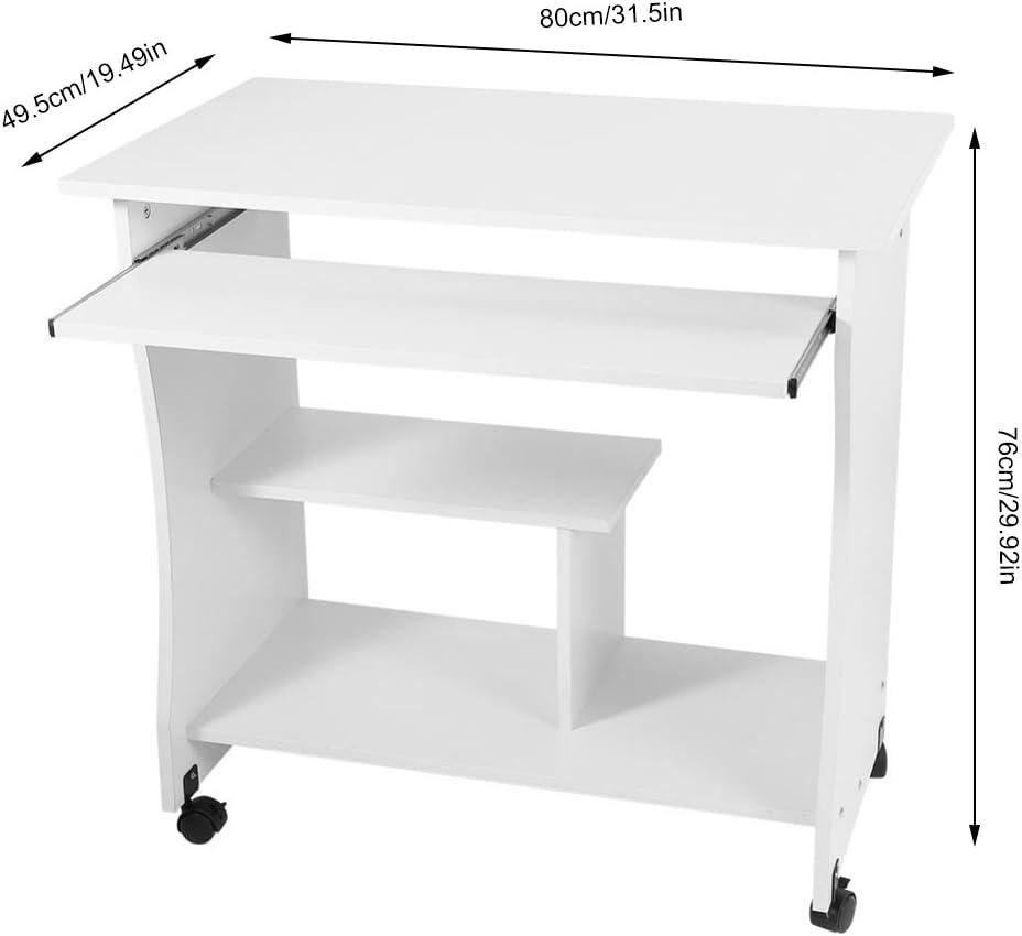 Blanc Bureau Ordinateur Portable avec Plateau de Clavier Coulissant Table d/Étude Mobile avec /Étag/ère pour Maison Bureau 80 x 48 x 74cm Bureau Informatique Roulette