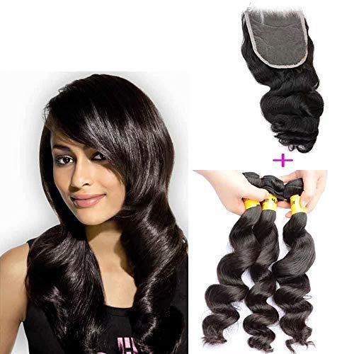 Queengirl Virgin Cheveux Malaisiens Avec La Fermeture 3 Bundles Vague Lâche Raw Extensions de Cheveux Humains Tisser Top Dentelle Frontale 10 12 14inc