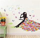LifeUp Blumen elf Wandaufkleber-romantisch Blume Schmetterling Fee Wandtattoos,Wandgemälde,DIY,pvc,entfernbar Geschenke für wohnzimmer Mädchenzimmer Kindergarten Dekoration