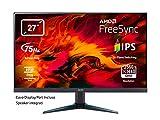 Acer Nitro VG270Ubmiipx Monitor Gaming FreeSync da 27', Display IPS 2K QHD, 2560x1440, 75 Hz, Luminosità 350 cd/m2, Tempo di Risposta 1 ms (VRB), 2xHDMI, DP, Speaker Integrati, Nero