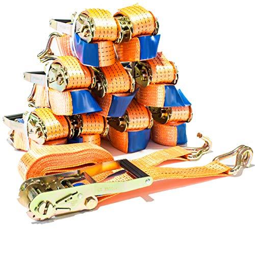 10 Stück Spanngurt 4 to 5m orange Zurrgurt 4000 kg 5m Ratsche Ratschengurt Ratschenspanngurt Ladung SPARSET Spanngurte DIN EN 12195-2