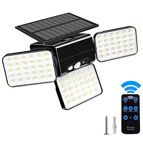 Solar Motion Sensor Lights 90 LEDs Solar Flood Lights with 3 Modes Solar Lights Outdoor 3 Heads Adjustable Motion Sensor Wireless IP68 Waterproof 360 Degree Rotatable