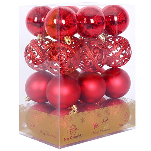 No One&U Christmas Balls Ornaments for Xmas Christmas Tree,Shatterproof Christmas Tree Decorations Hanging Ball Set for Holiday Wedding Party Decoration 2.4Inch x 24 Pack (Red-3)