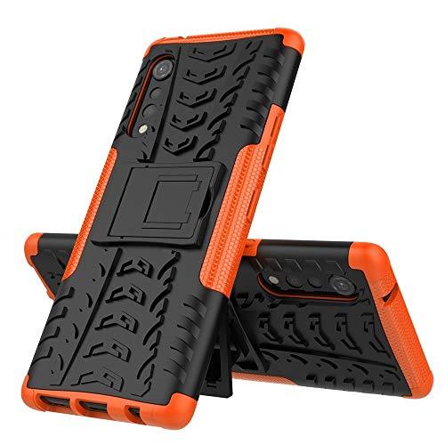 Zhangli Fundas LG Caja Protectora de los neumáticos a Prueba de Golpes Textura de TPU PC con el sostenedor Fundas LG (Color : Naranja)
