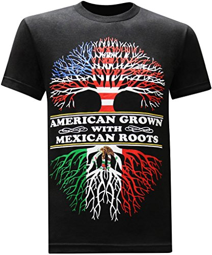 tees geek American Grown Mexican Roots Funny T-Shirt - (X-Large) - Black