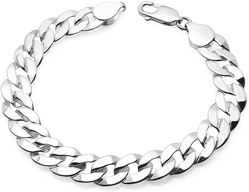 Ranking TOP17 SolidSilver - Sterling New product!! Silver Men's Cuban Chain Bracel Link