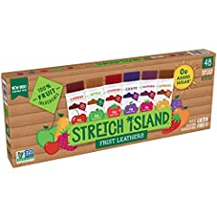 PACK OF 48, 0.5 ounce strips of Stretch Island All Natural Fruit Leathers in a variety of flavors REAL FRUIT: 1/4 cup of real fruit per strip ZERO ADDED SUGAR: Made exclusively with real fruit puree no added sugar ALL NATURAL: No artificial flavors, ...