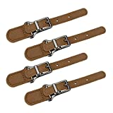 Semetall 4 Sets PU Leather Sew-On Toggles Button with Clasp for Coat Clothing and Jakcet(Brown,Style G)