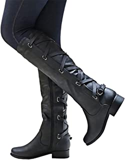Womens Winter Knee High Boots Lace Up Flat Low Heel Riding Motorcycle Boots