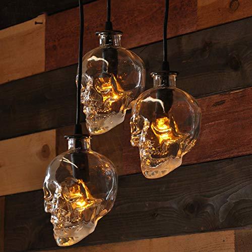 NIUYAO Lámpara Colgante Industrial Vintage Pantalla Cristal Calavera Iluminación Suspensa Loft Estilo 1 Portalámparas Lámpara Decorativo Interior