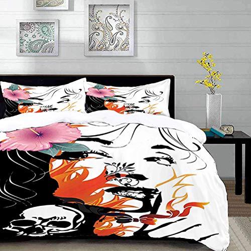 ropa de cama - Juego de funda nórdica, tatuaje, mujeres atractivas con flor rosa en el pelo cerca de un diseño de calavera, naranja rosa negro y, juego de funda nórdica de microfibra con 2 fundas de a